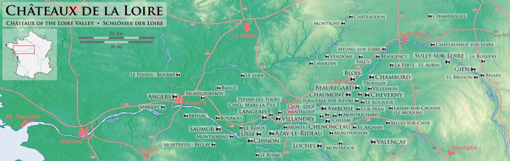 Châteaux Loire France Carte