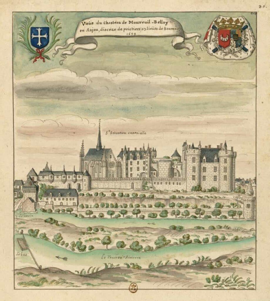 """""""Veüe du chasteau de Montreuil-Bellay, en Anjou, dioceze de poictiers, à trois lieües de Saumur"""" (dessin de Louis Boudan - 1699)"""